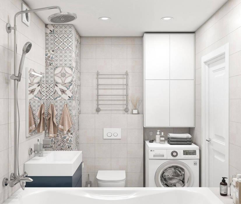 Дизайн интерьера квартиры в Новокосино: Ванные комнаты в . Автор – OM DESIGN, Скандинавский