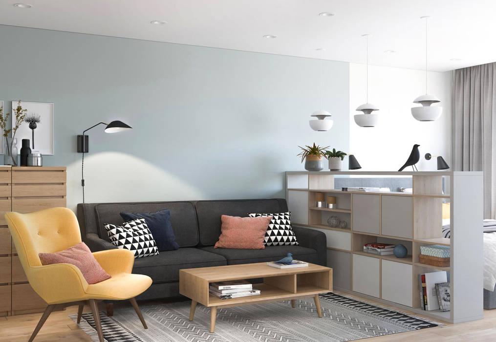 Дизайн интерьера квартиры в Новокосино Гостиная в скандинавском стиле от OM DESIGN Скандинавский