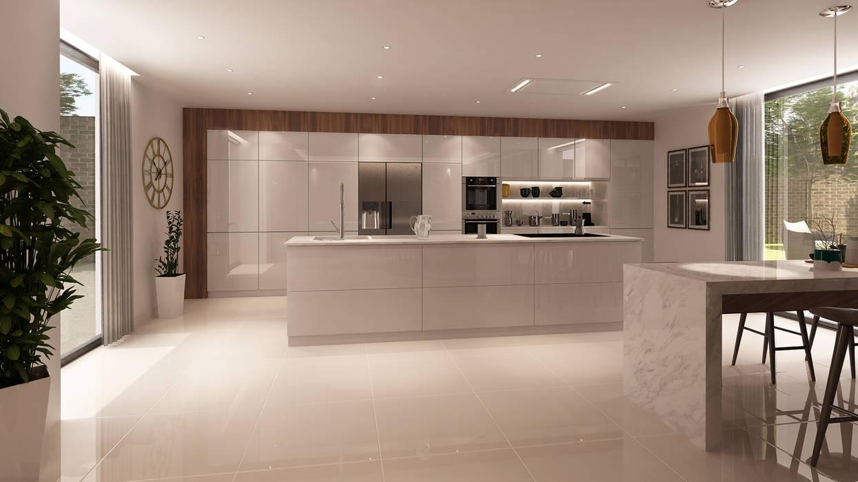 Projecto 3D -Cozinha e Sala de Jantar - Braga Cozinhas modernas por Alpha Details Moderno