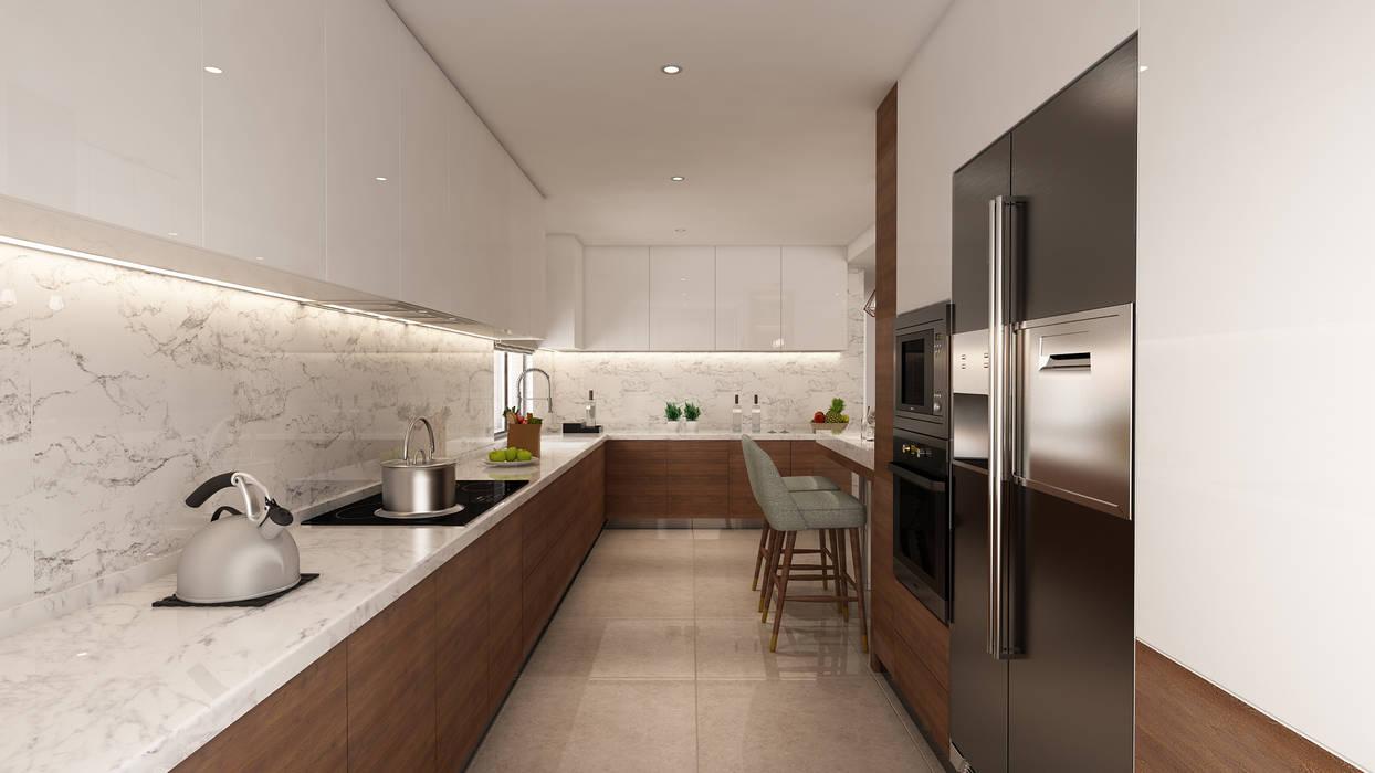 Projecto 3D cozinha, Vila Nova de Gaia: Cozinhas  por Alpha Details,Moderno