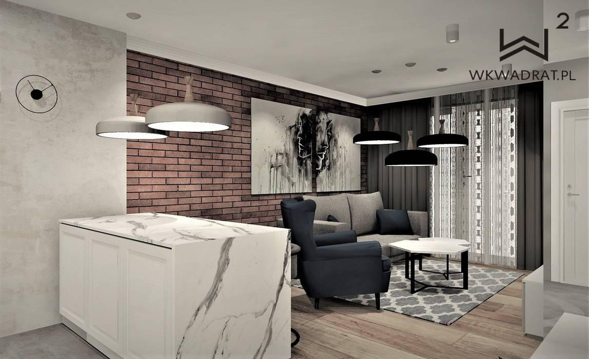 Apartament na wynajem Nowoczesny salon od Wkwadrat Architekt Wnętrz Toruń Nowoczesny Cegły