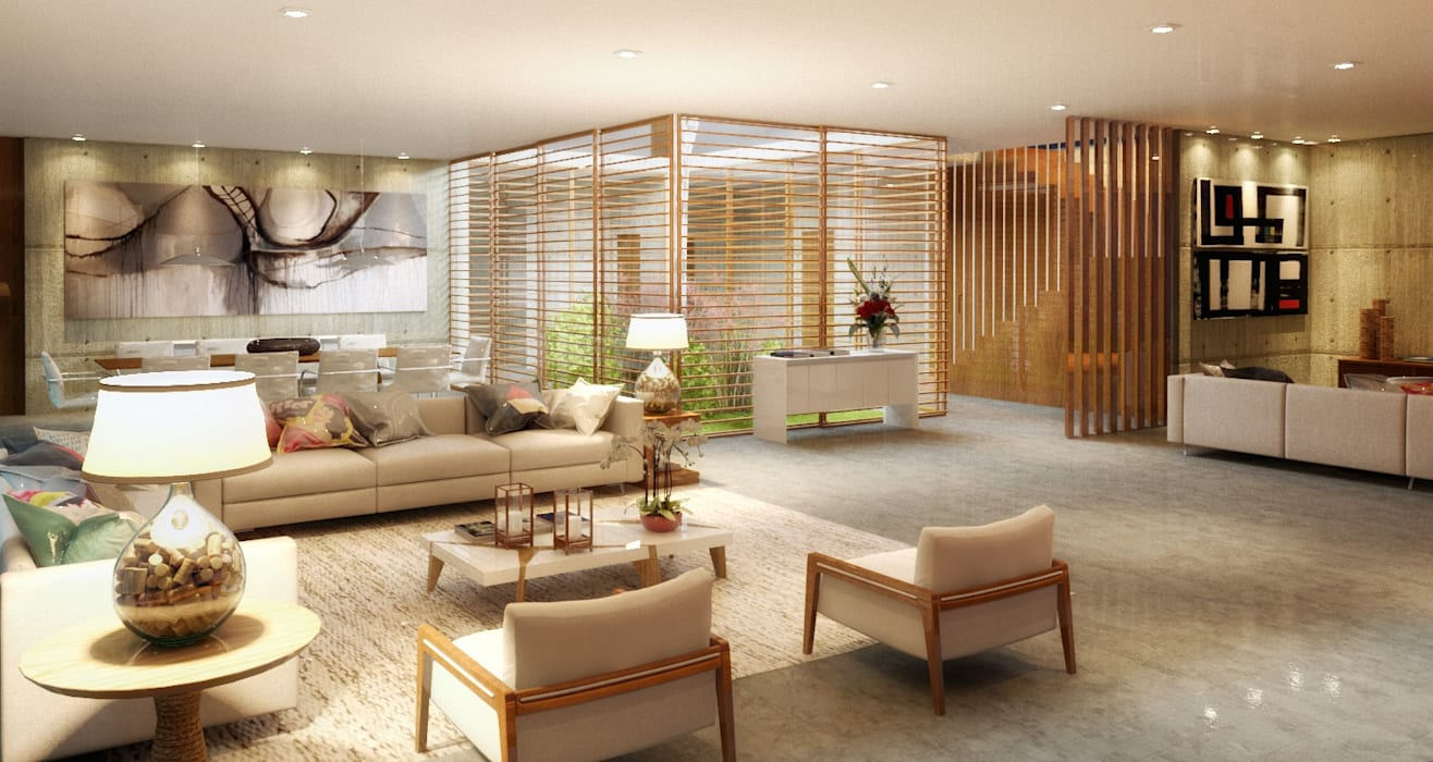 Casa da Árvore: Salas de estar  por Viviane Cunha Arquitetura