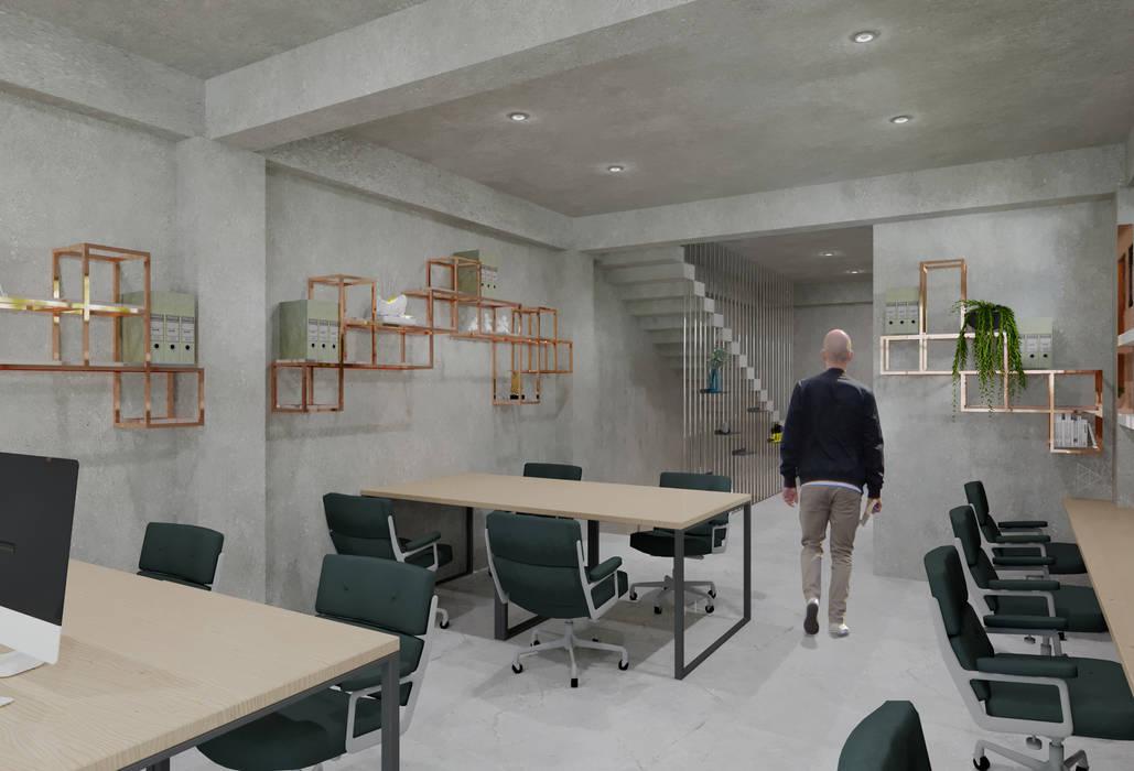 Staff Area- 2nd Floor Ruang Studi/Kantor Gaya Industrial Oleh TIES Design & Build Industrial