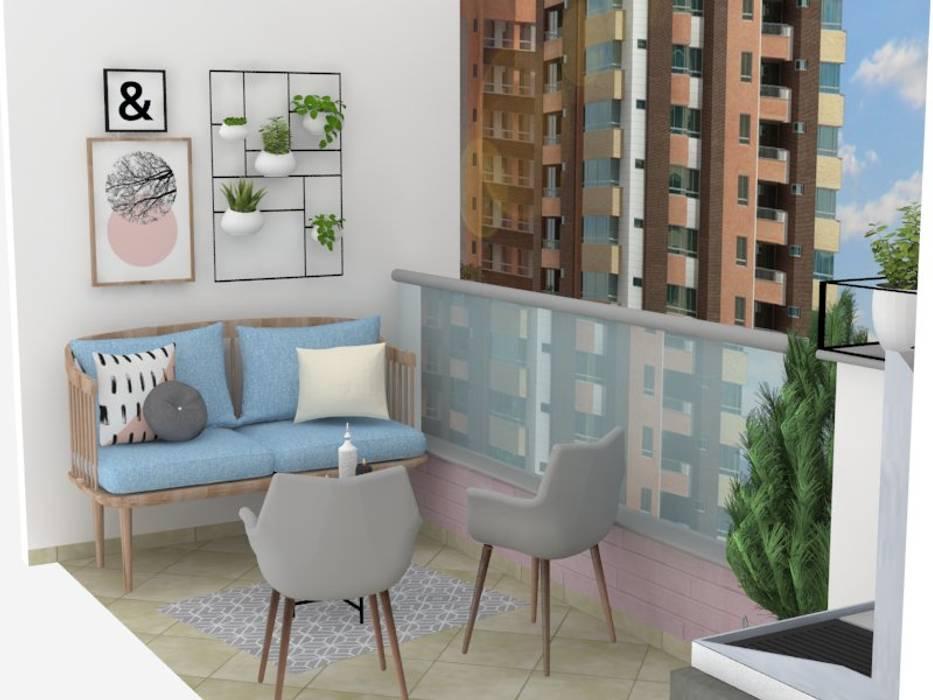 Diseño balcón principal apartamento /edificio Serrat: Balcón de estilo  por Decó ambientes a la medida,