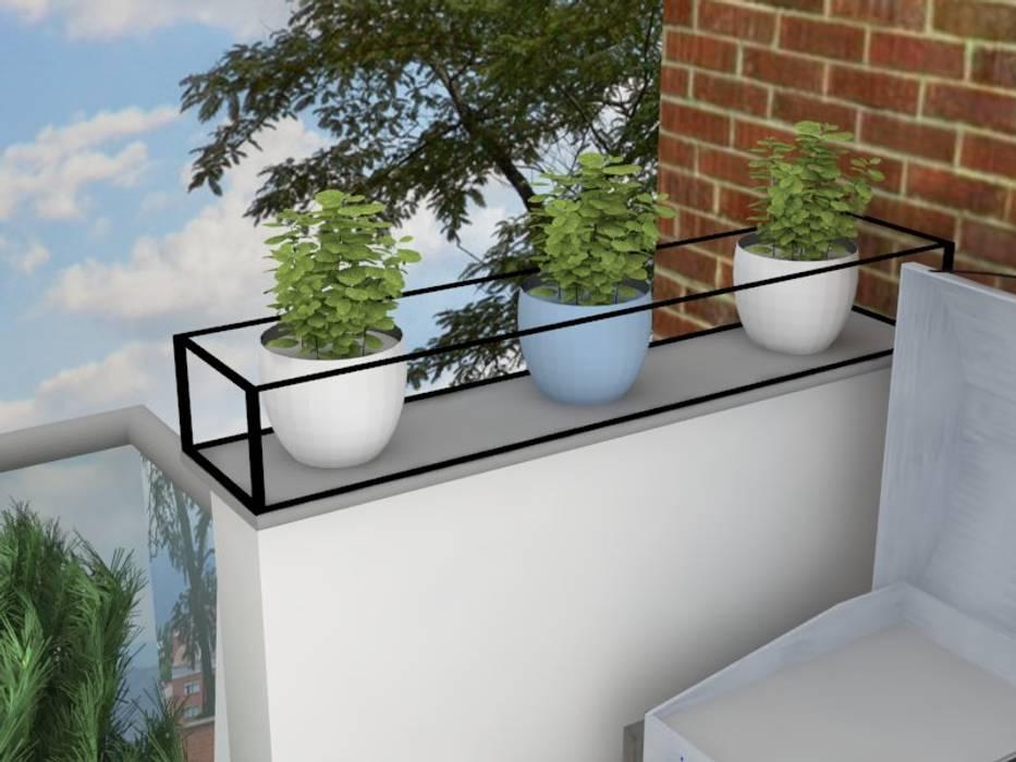Diseño balcón principal apartamento /edificio Serrat: Balcón de estilo  por Decó ambientes a la medida