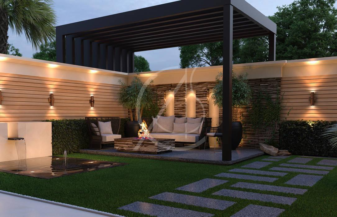 Modern Classic House Design:  Garden by Comelite Architecture, Structure and Interior Design