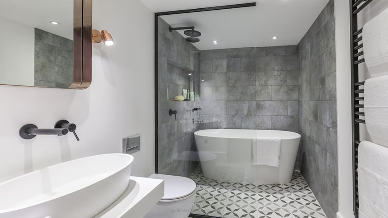 Comfortable bathroom:  Bathroom by Urbanist Architecture, Minimalist Tiles