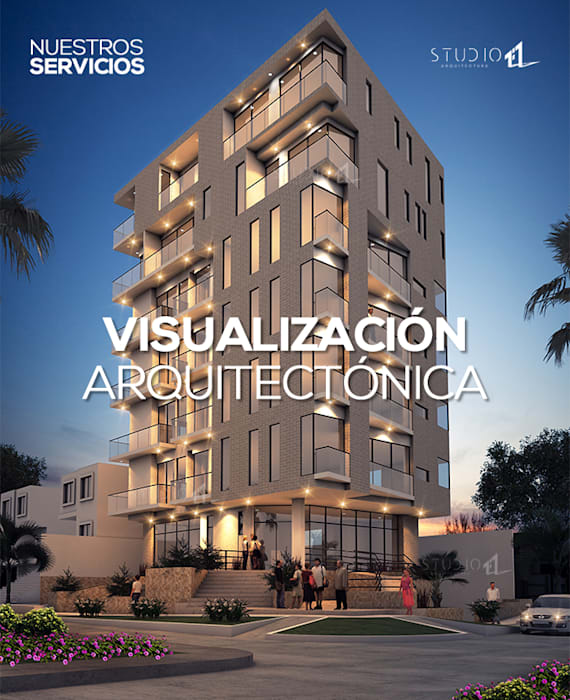 Visualización Arquitectónica: Casas de estilo  por Studio 1:1 Arquitectura ,