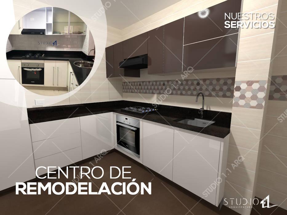 Centro de Remodelación o Acabados: Cocinas integrales de estilo  por Studio 1:1 Arquitectura ,