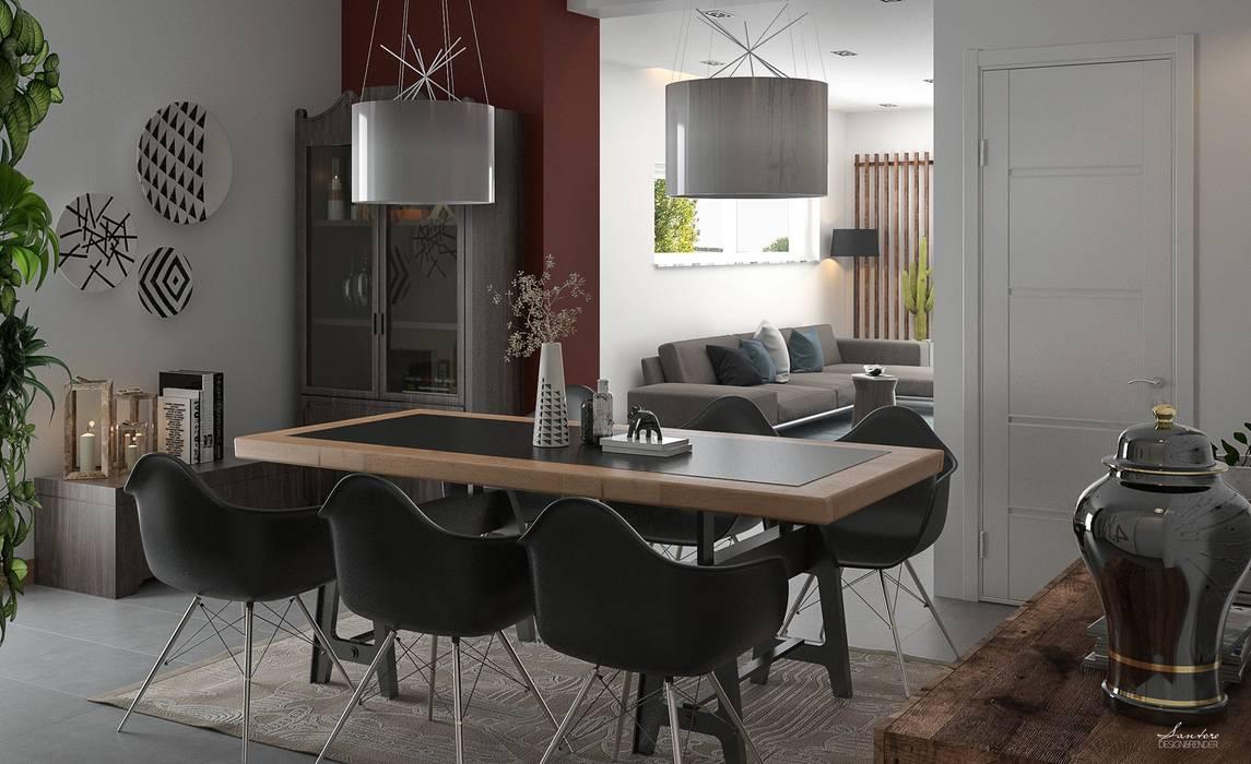 Industrial style dining room by Santoro Design Render Industrial