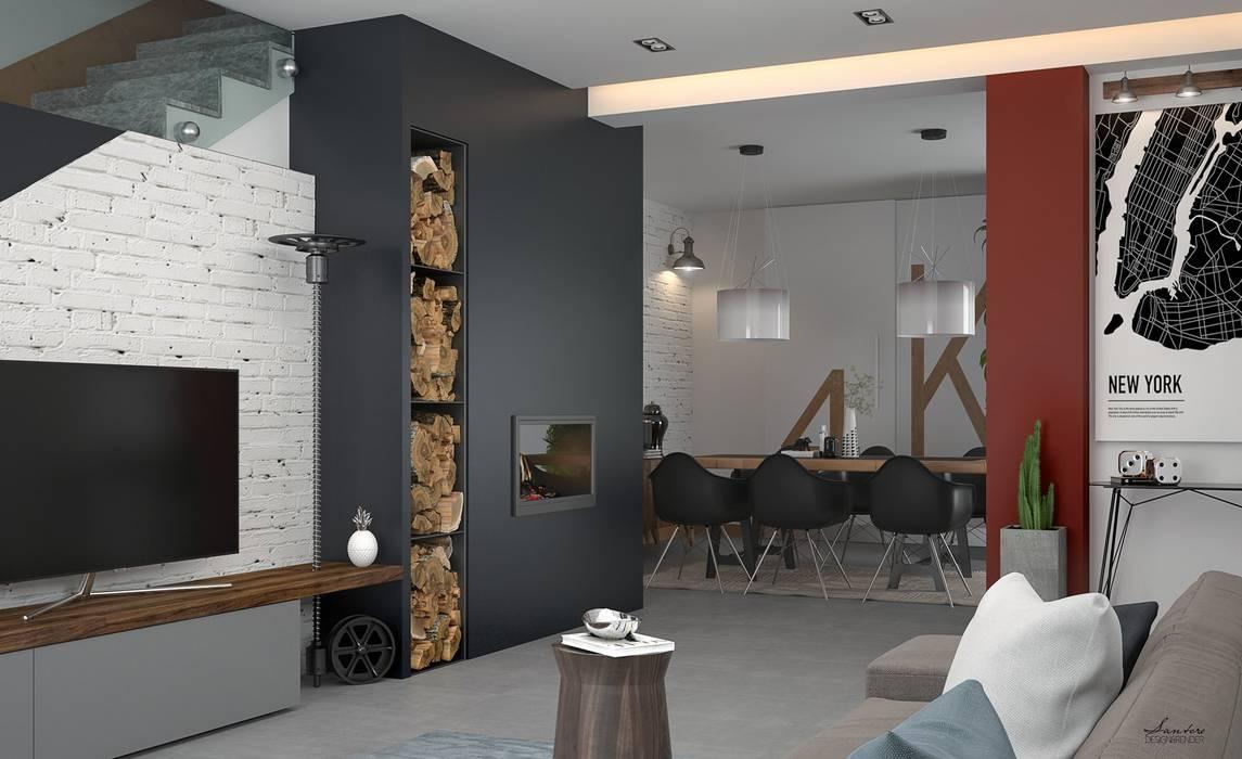 Parete attrezzata moderna Soggiorno in stile industriale di Santoro Design Render Industrial