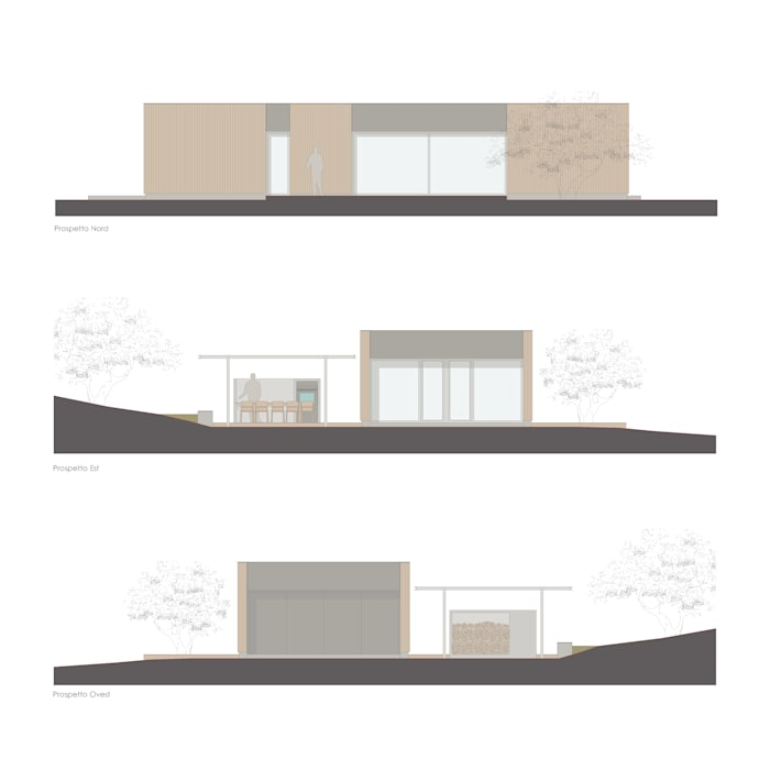 Xlam wooden house perspective drawing ALESSIO LO BELLO ARCHITETTO a Palermo
