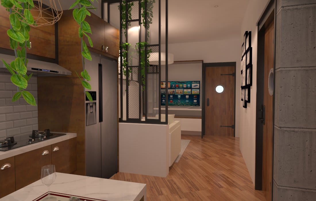Dekorasi Industri ( kitchenset ) Dapur Modern Oleh SARAÈ Interior Design Modern Kayu Lapis