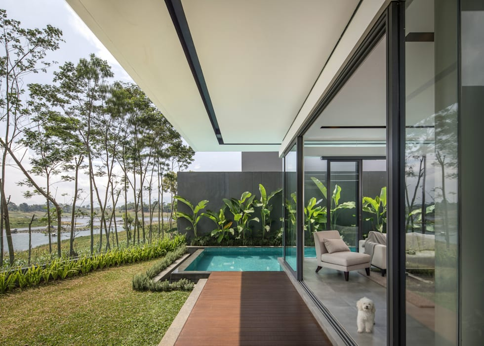 Outdoor Terrace Balkon, Beranda & Teras Modern Oleh Rakta Studio Modern