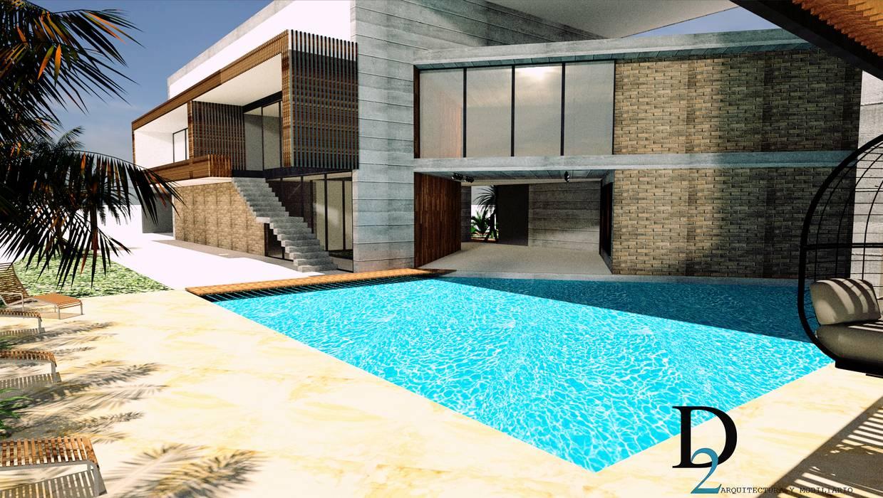 CASA 01 Balcones y terrazas de estilo moderno de D2 ARQUITECTURA Y MOBILIARIO Moderno Concreto