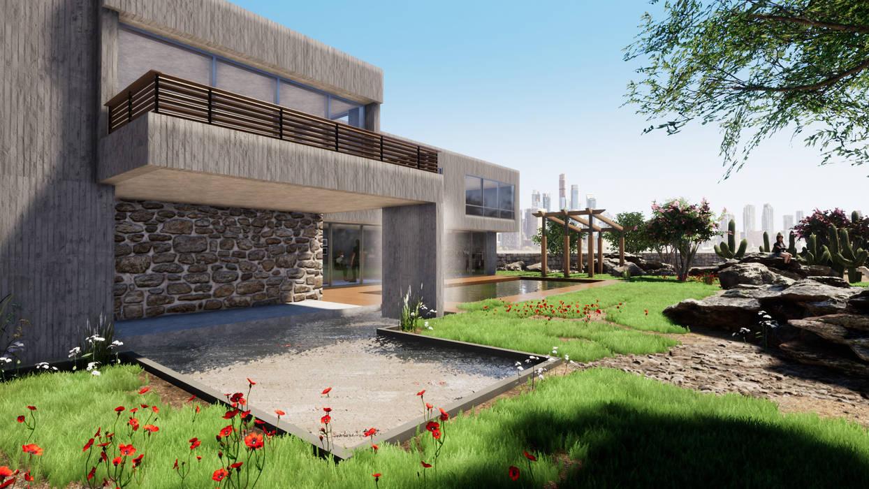 Vista exterior Fachada y detalle en piedra CR.3D Modeling & Rendering Casas estilo moderno: ideas, arquitectura e imágenes Concreto reforzado Gris