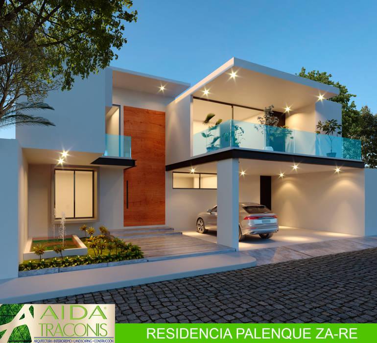 FACHADA PRINCIPAL RESIDENCIA PALENQUE ZA-RE Casas de estilo moderno de AIDA TRACONIS ARQUITECTOS EN MERIDA YUCATAN MEXICO Moderno