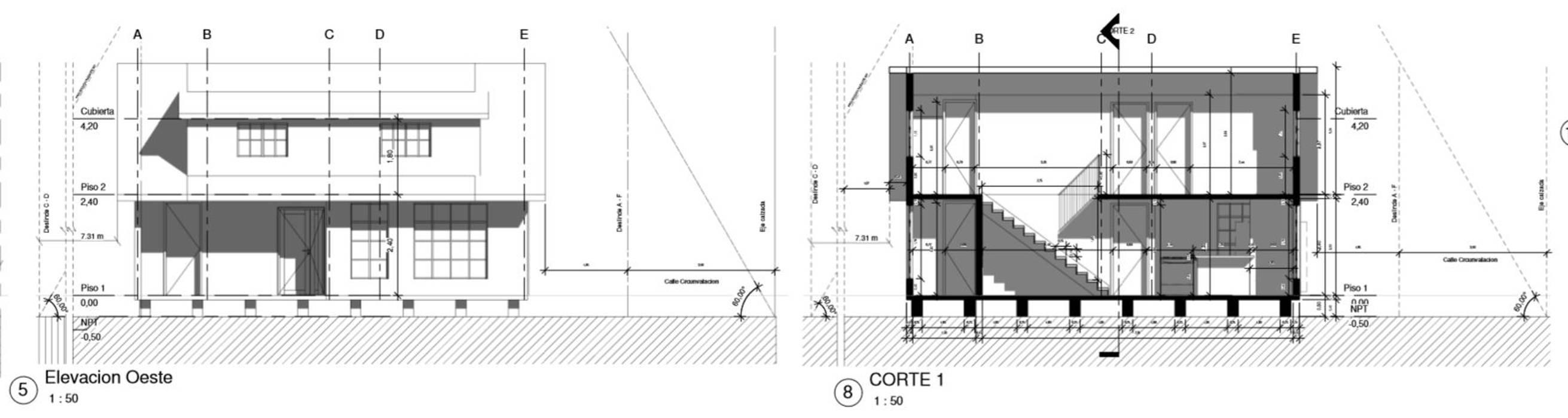 Corte y Elevacion: Cabañas de estilo  por CR.3D Modeling & Rendering, Rural Madera Acabado en madera