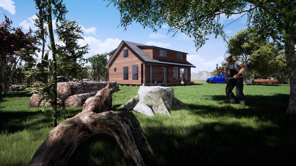Vista Exterior Cabaña: Cabañas de estilo  por CR.3D Modeling & Rendering
