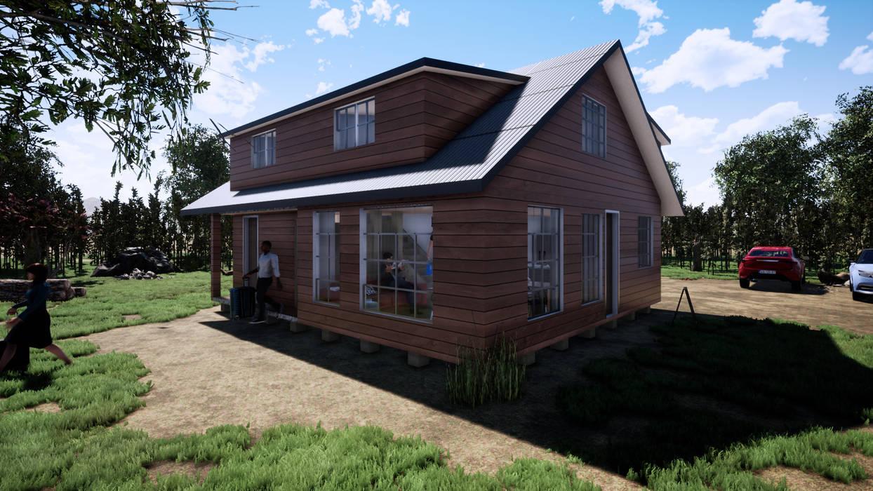 Vista Exterior Cabaña de CR.3D Modeling & Rendering Rural Madera Acabado en madera