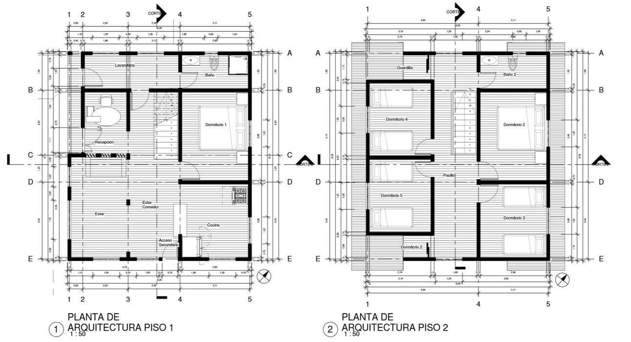 Planimetria : Cabañas de estilo  por CR.3D Modeling & Rendering
