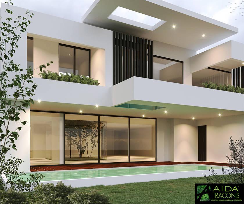 FACHADA TRASERA VISTA YCC-W06: Casas unifamiliares de estilo  por AIDA TRACONIS ARQUITECTOS EN MERIDA YUCATAN MEXICO,