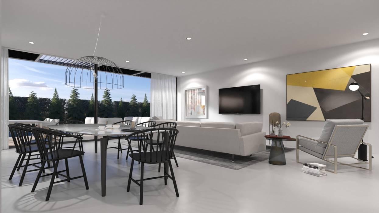 Sala de jantar e estar: Salas de estar  por Nuno Ladeiro, Arquitetura e Design