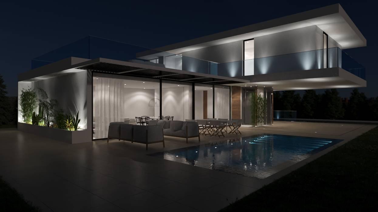Vista sobre a piscina - Noite: Piscinas  por Nuno Ladeiro, Arquitetura e Design