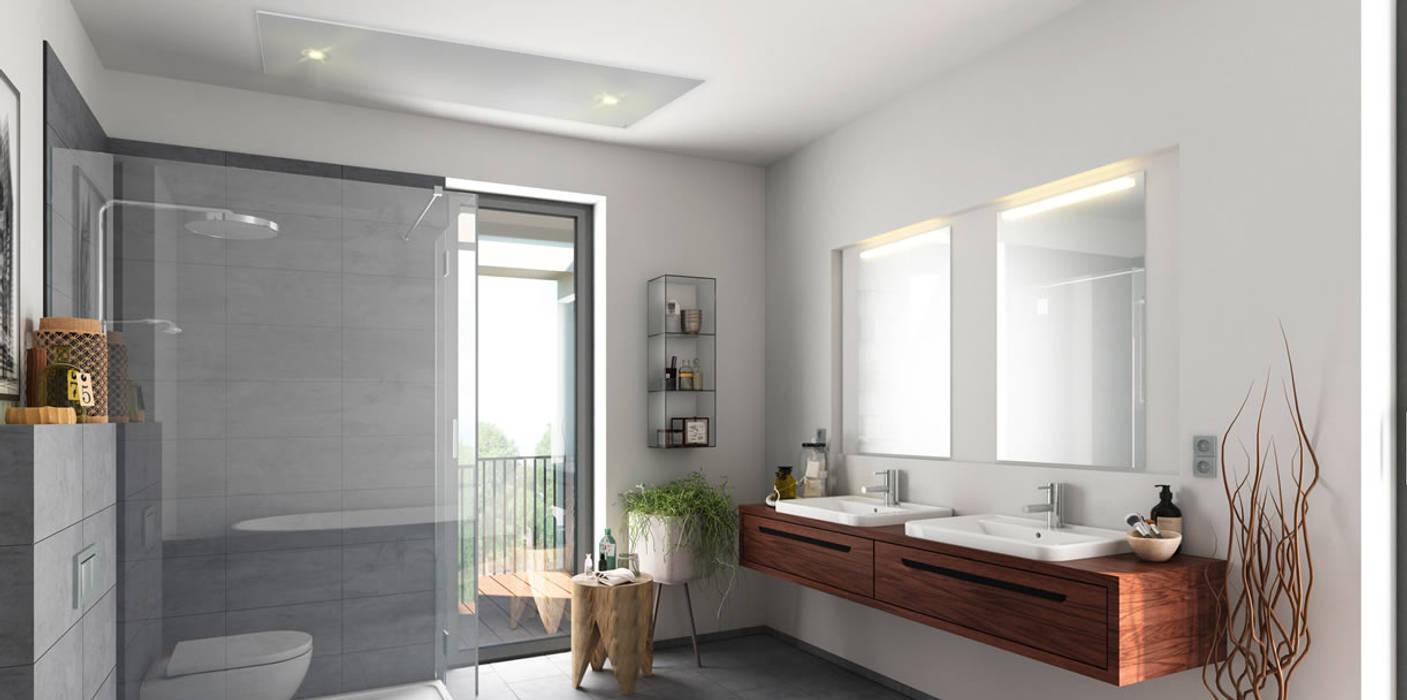 verwarmen en verlichten:  Badkamer door Heat Art - infrarood verwarming, Modern Glas