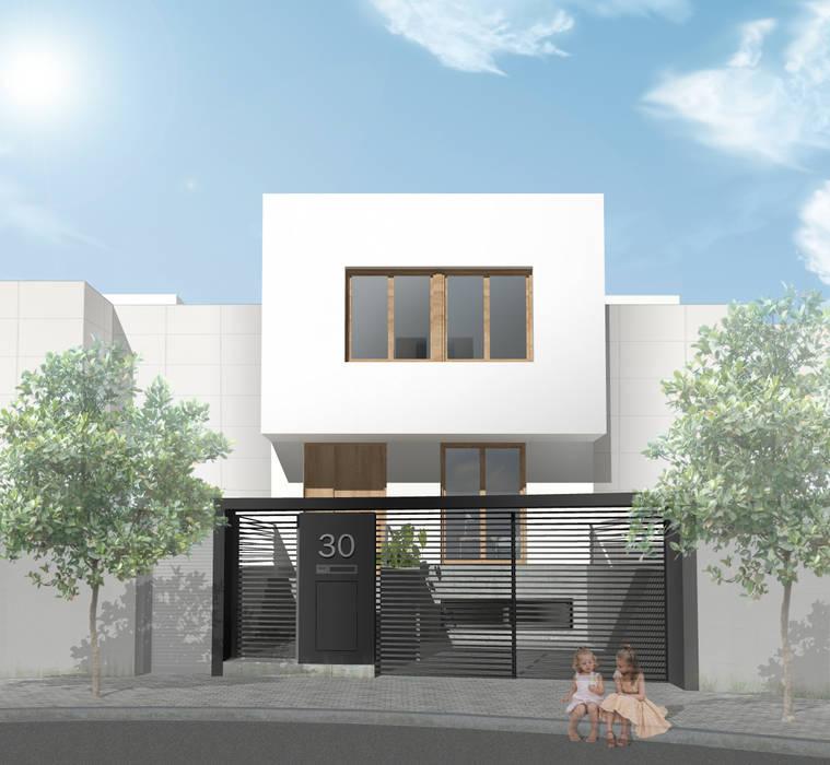 Fachada principal de vivienda unifamiliar adosada Casas de estilo moderno de Reformmia Moderno