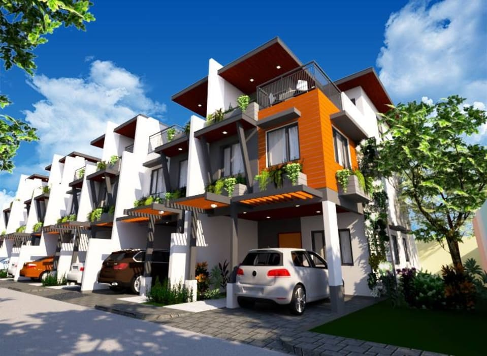 Facade, view of corner unit:  Townhouse by Structura Architects,
