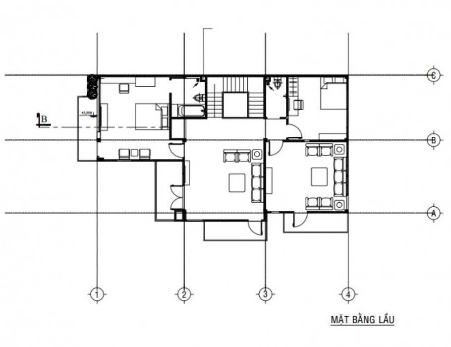 Mặt bằng tầng 2 biệt thự:  Biệt thự by Công ty TNHH Thiết Kế Xây Dựng Song Gia Phát, Hiện đại