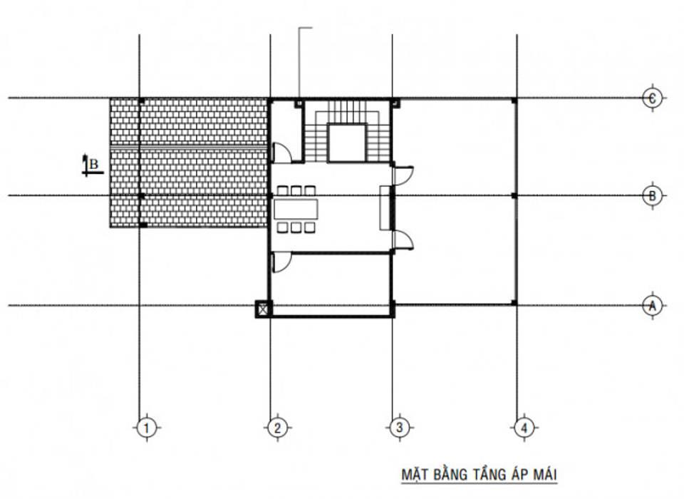 Bố trí mặt bằng tầng áp mái:  Biệt thự by Công ty TNHH Thiết Kế Xây Dựng Song Gia Phát, Hiện đại