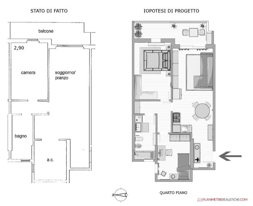 Ipotesi di progetto da bilocale e trilocale per Appartamento in Vendita: Casa piccola in stile  di Planimetrie Realistiche