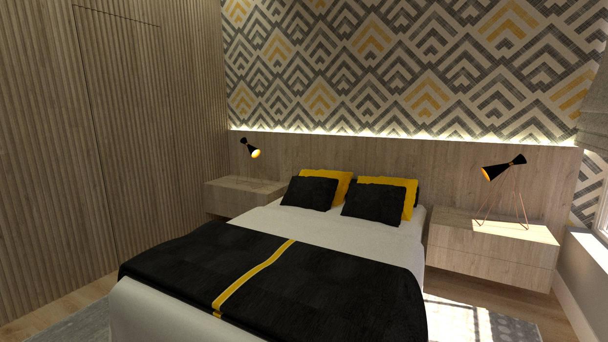 SUITE CASAL: Quartos pequenos   por JR DECOR - Design de Interiores,Moderno