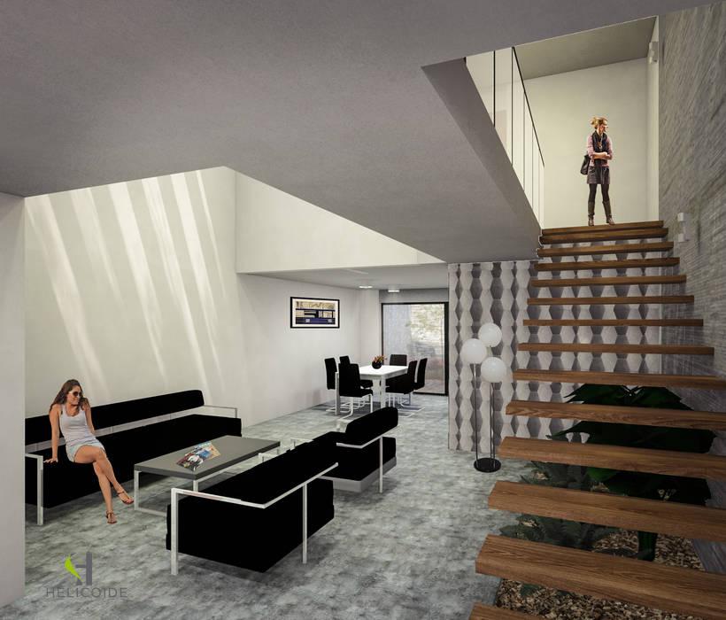Escalera volada: Escaleras de estilo  por Helicoide Estudio de Arquitectura