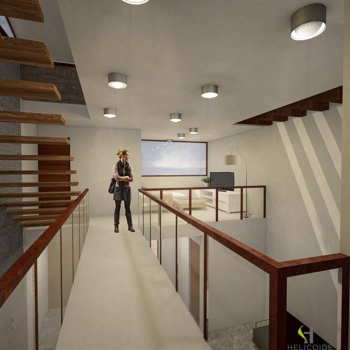 Puente: Pasillos y recibidores de estilo  por Helicoide Estudio de Arquitectura