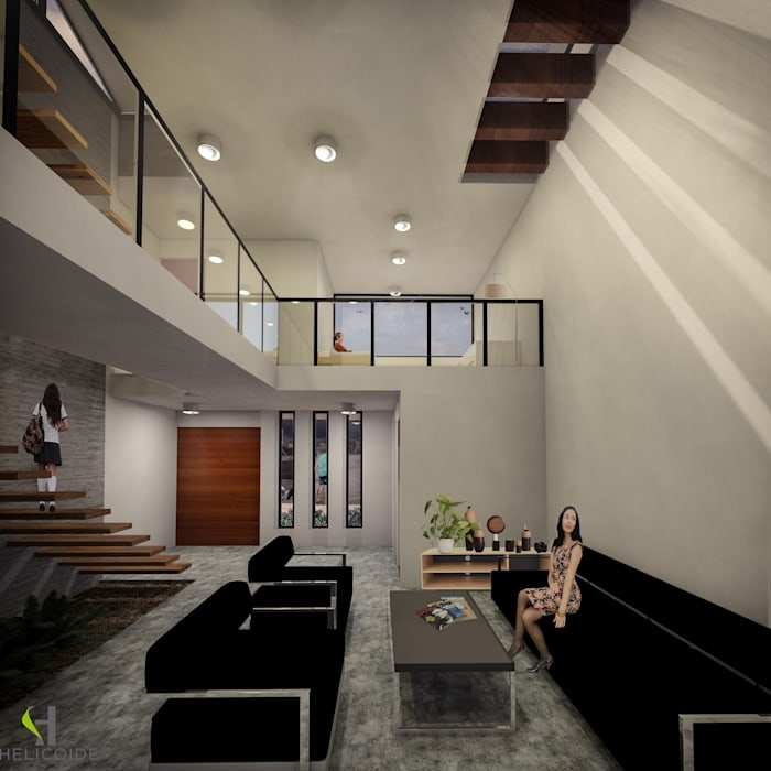Estancia: Salas de estilo  por Helicoide Estudio de Arquitectura
