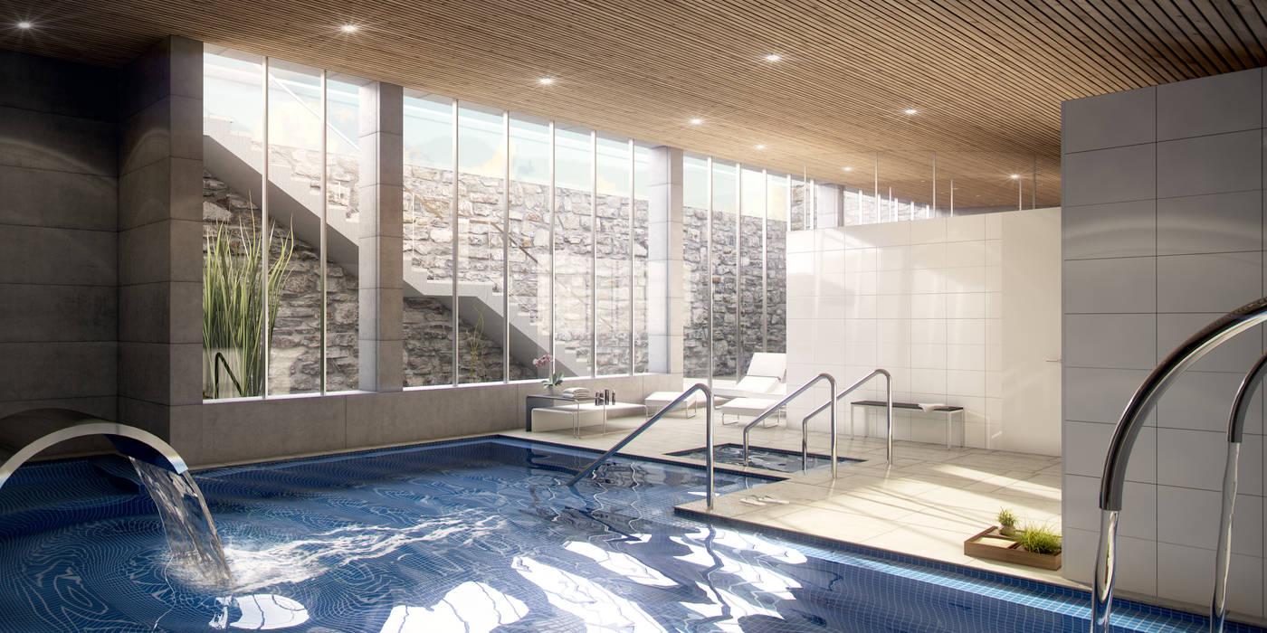 Infografía 3d interior del residencial Casas de estilo moderno de Infografias 3D y Renders 3D Madrid Moderno