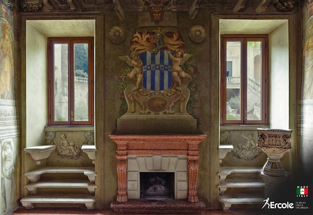 Finestre Restaurate in Villa Storica by Ercole Srl Rustic Wood Wood effect