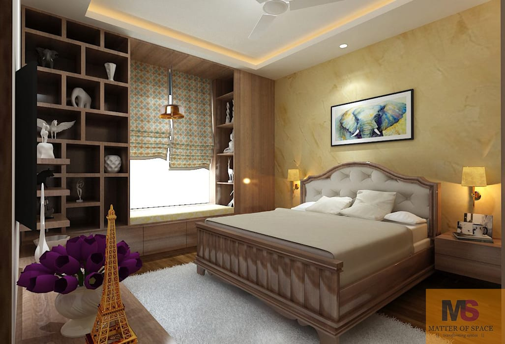 Guest room :  Small bedroom by Matter Of Space Pvt. Ltd.,Modern Wood Wood effect