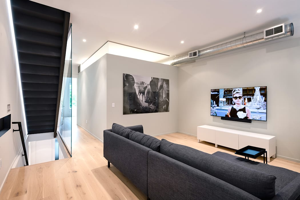 Black White Light Modern Media Room by KUBE Architecture Modern
