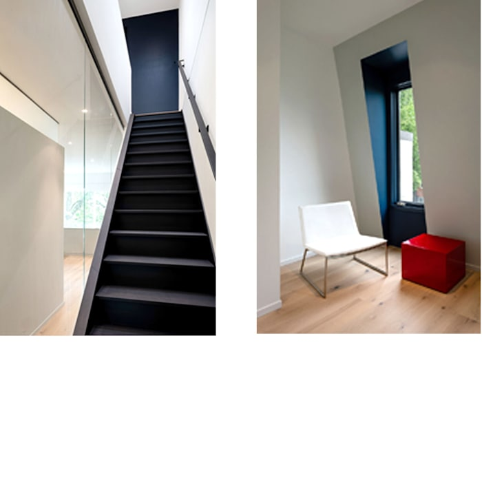 Black White Light Modern Corridor, Hallway and Staircase by KUBE architecture Modern