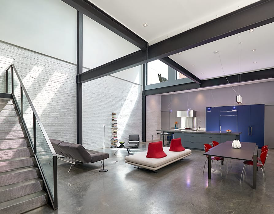 AutoHaus Modern Living Room by KUBE Architecture Modern