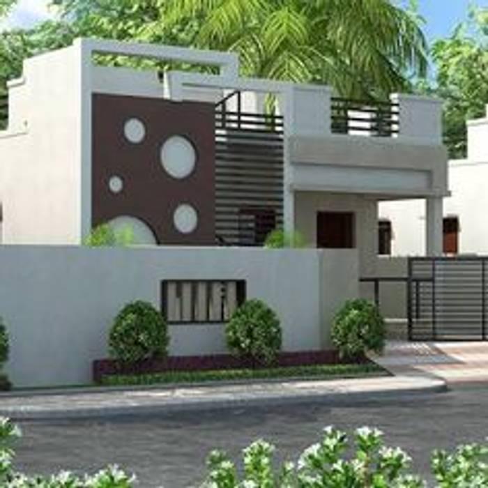 Balkon, Beranda & Teras Gaya Asia Oleh Vrealtors Property Developers And Construction Asia Batu Bata