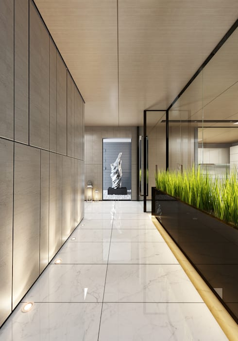Interior Visualization Modern Corridor, Hallway and Staircase by weicheng Modern