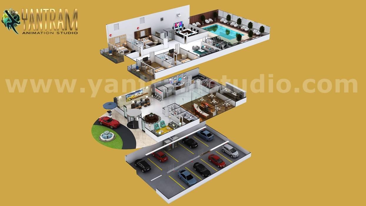 Contemporary Hotel style 3d interior floor plan designer by 3D Architectural Design, Los Angeles – USA Oleh Yantram Architectural Design Studio Modern