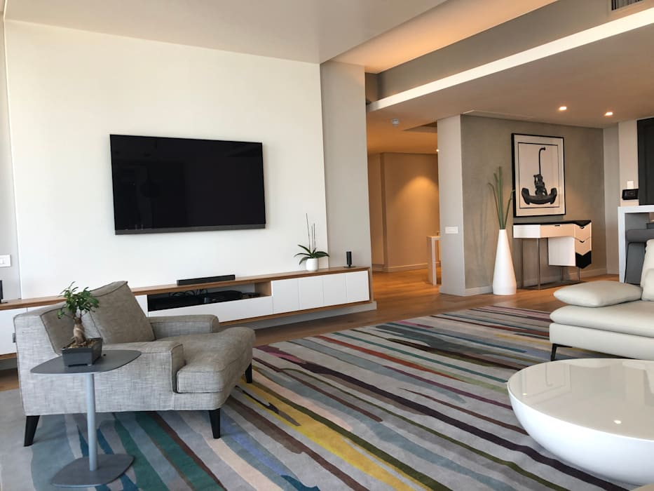 The custom TV unit Modern living room by Just Interior Design Modern