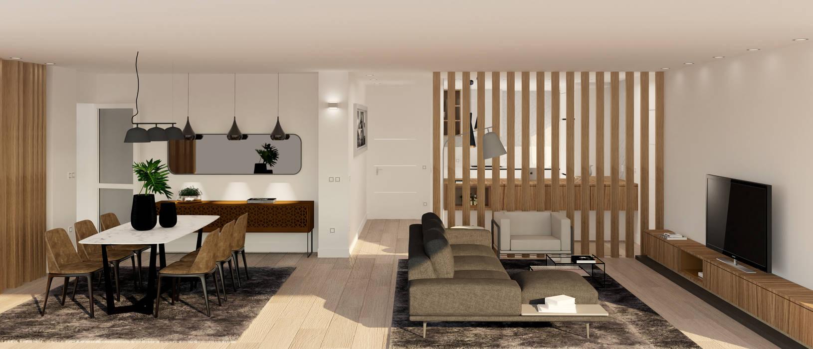 Zona de día.: Salones de estilo  de arQmonia estudio, Arquitectos de interior, Asturias, Moderno