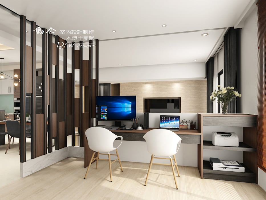 書房:  書房/辦公室 by 木博士團隊/動念室內設計制作, 現代風